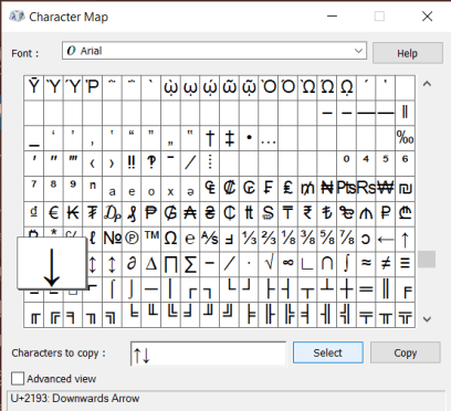 Windows 10 Character Map