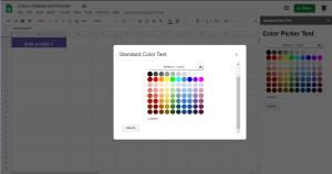 Google Apps Script: Google Standard Color Palette Picker for Sidebar and Dialog Boxes in Google Sheets, Google Docs  and Google Slides