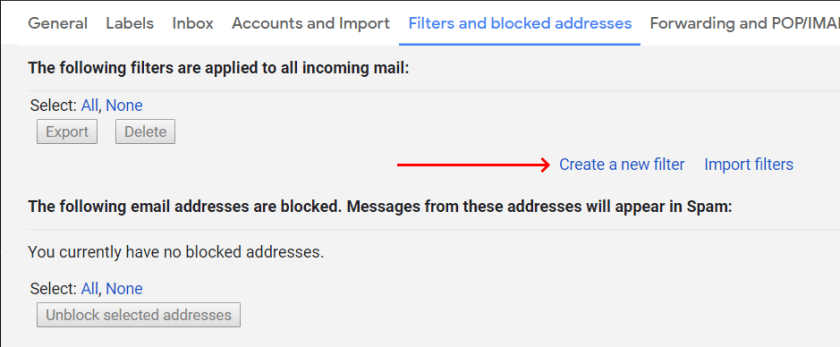 Gmail - Create new filter