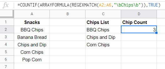 Google Sheets COUNTIF REGEXMATCH ARRAYFORMULA