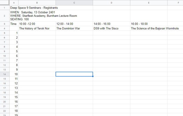 Registeree List for Seat booking Google Sheets