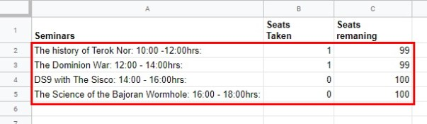 Session Data Range for Seat Booking Google Form