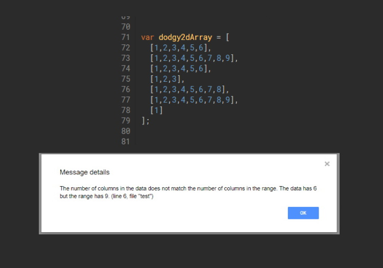 Google Apps Script: Filling out your column data to match the number of columns in a range