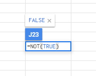 Google Sheets NOT function