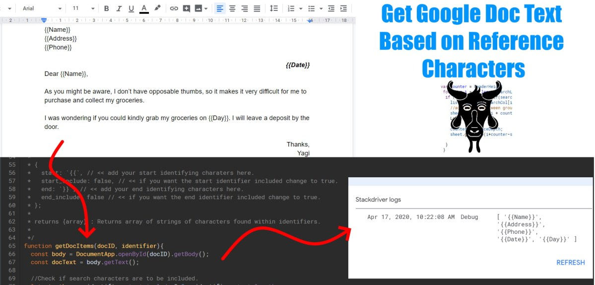 Get Google Doc Text Based on Reference Characters GAS Header1