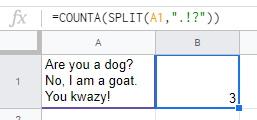 SPLIT COUNTA cell by Sentences Google Sheets