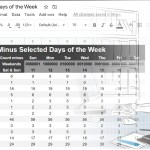 Count the number of days of the week in a range Google Sheets