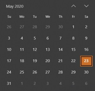May Calendar 2020 Windows 10