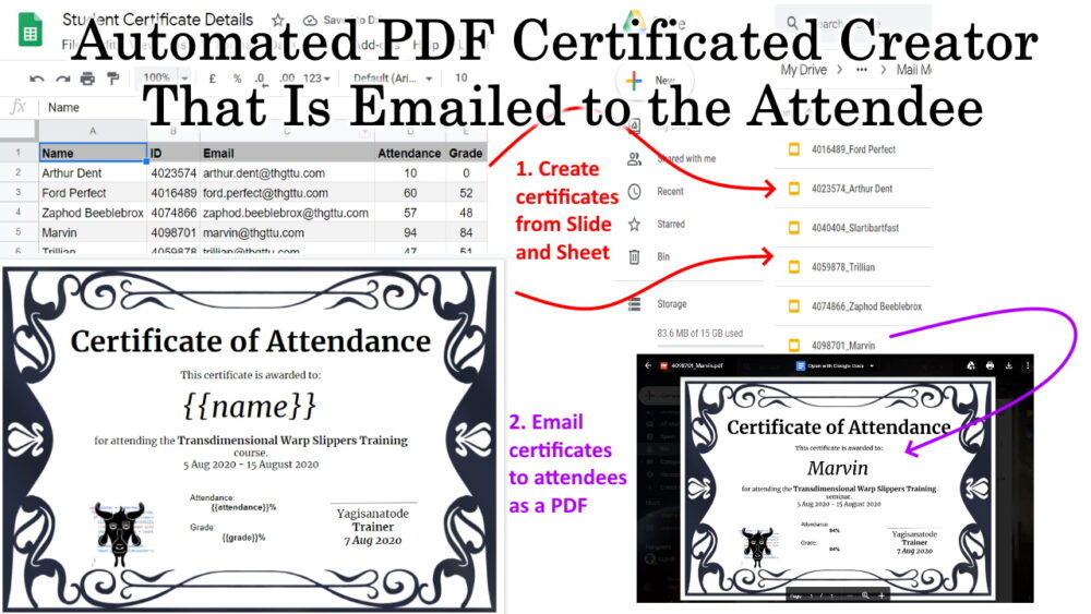 Automated PDF Certificated Creator That Is Emailed to the Attendee Google Apps Script