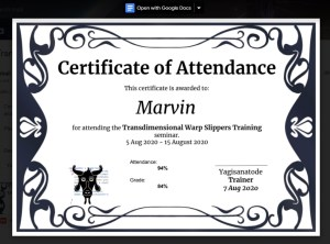 PDF attachment of Certificate of Attendance Google Apps Script