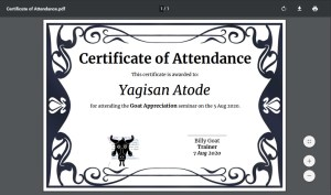 PDF of Certificate of Attendance Made in Google Sheets