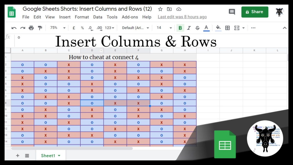 Google Sheets Beginners: Insert Columns and Rows (12)