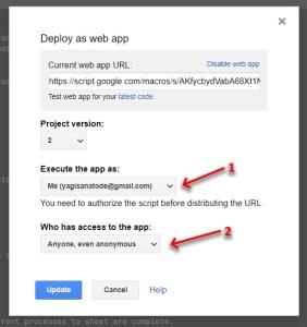 Deployed webapp in Google Apps Script chain story