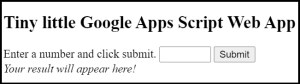 Google Apps Script basic display of html