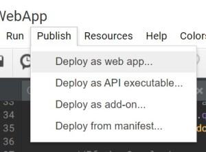 Google Apps Script publish deploy as web app