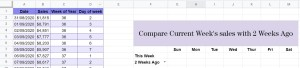 Google Sheets comparison headers and titles complete