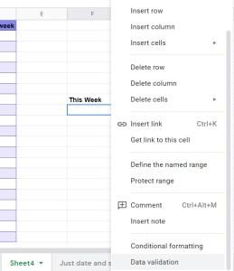 Google Sheets dropdown menu with Data Validation