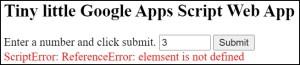 Tiny little Google Apps Script Web App back end error condition