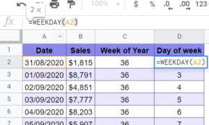 WEEKDAY Google Sheets function sales eg