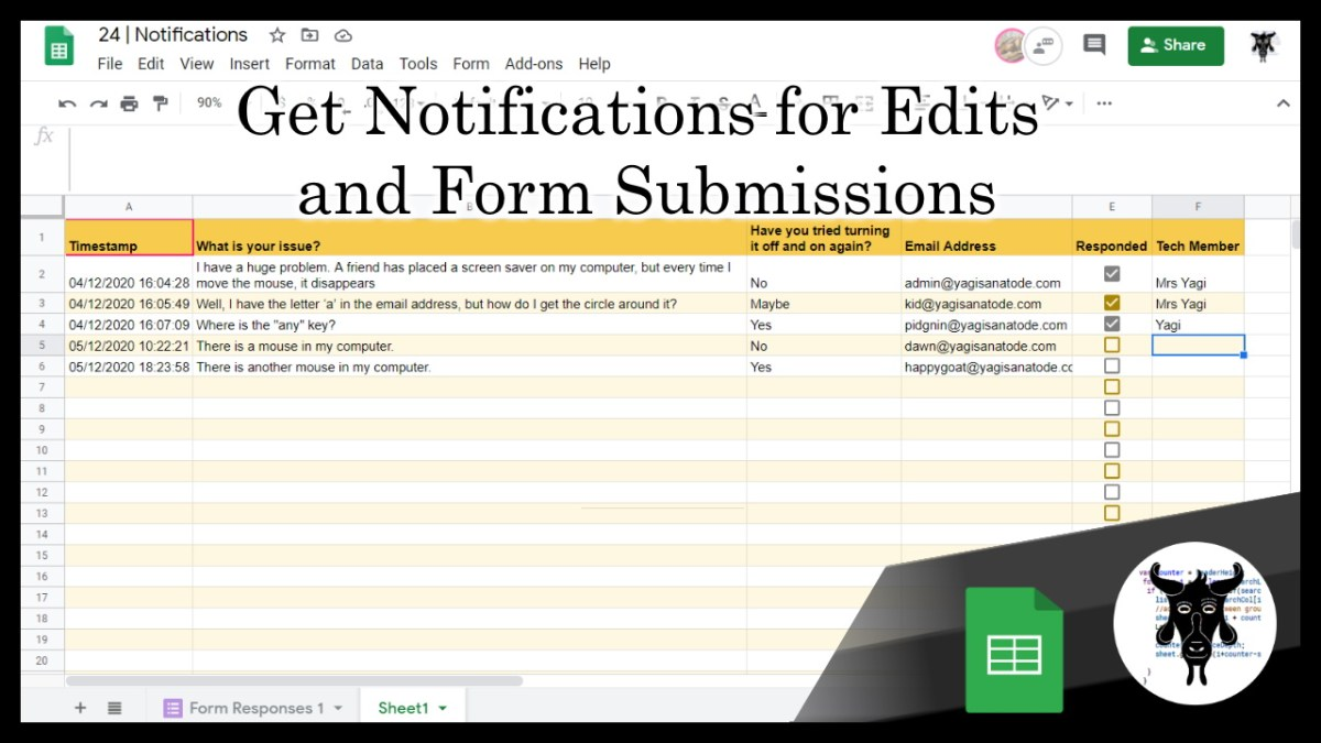 Google Sheets Beginners: Getting Email notifications on changes and form submits (24)