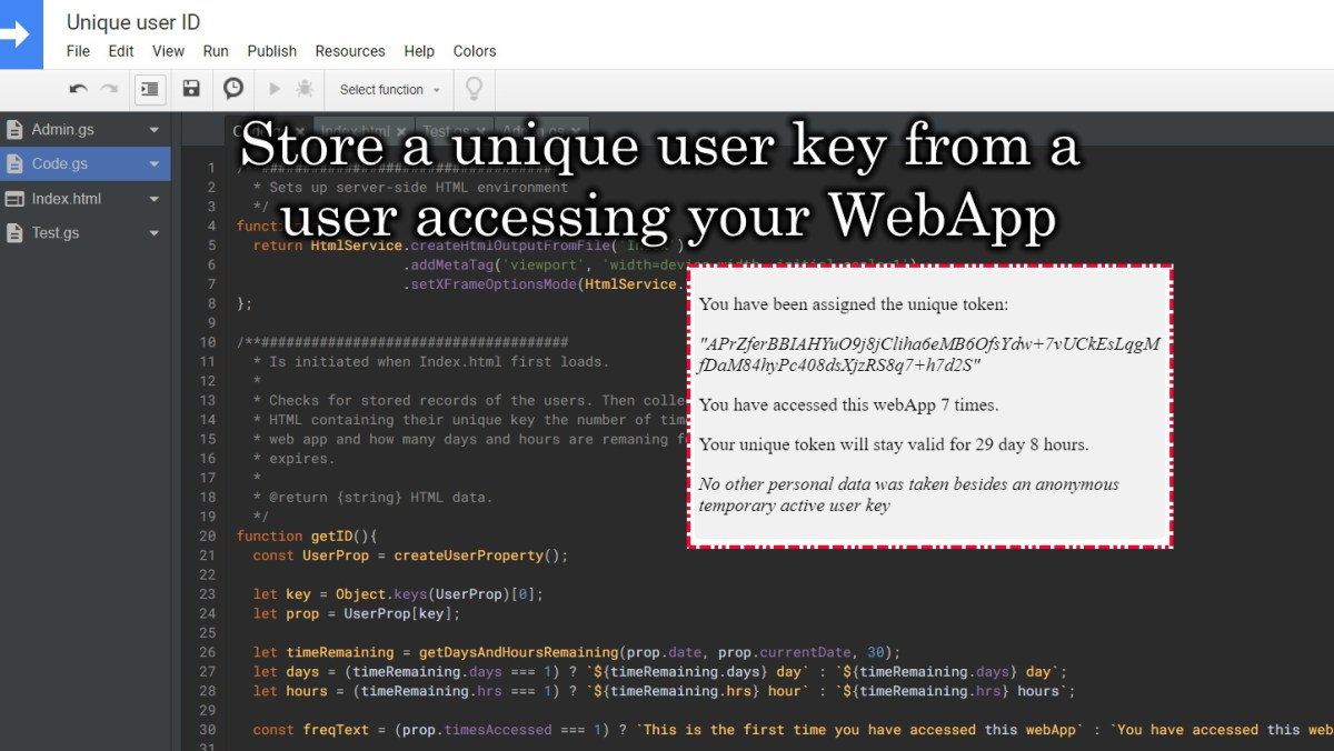 Google Apps Script Store Unique Key from users on your WebApp