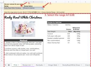 Google Sheets Recipe Template Print Sheet Tab