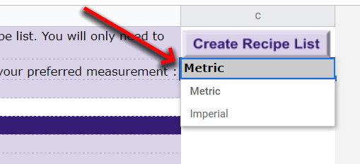 Google Sheets Recipe Template Select metric or imperial