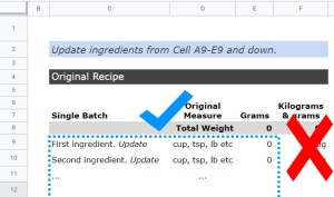 Google Sheets Recipe Template adding ingredients