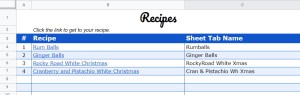 Google Sheets Recipe Template list or recipes