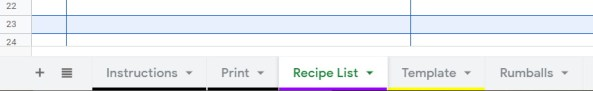 Recipe Google Sheets Template Sheet Tabs