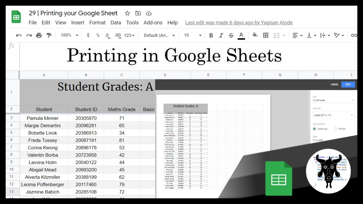 Google Sheets Beginners:  Printing your Google Sheet (29)