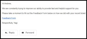 Custom feedback email with link to prefilled Google Form