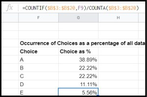 Get the occurrences of each value in a range as a percentage in Google Sheets