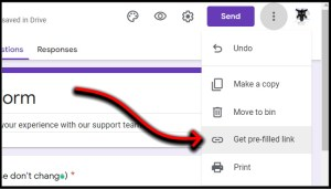 Google Forms menu buttons ot Get pre-filled link