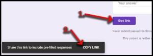 Google Forms prefill get link & copy link
