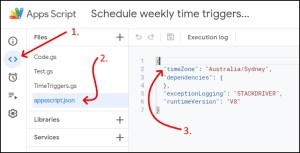 Google Apps Script time zone in manifest file