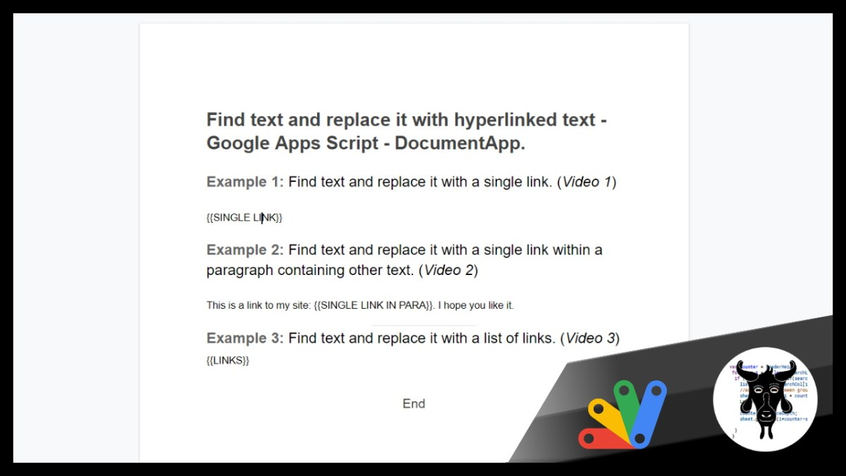 How to find and replace text in a Google Doc with a link or a list of links with Google Apps Script