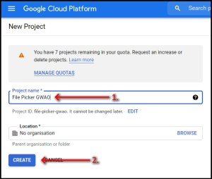 Google Workspace Add-on File Picker Change to GCP Standard name project