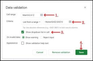 Google Sheets Data Validation dialogue for dropdown menu