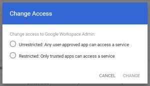 Enable Admin SDK on Google Workspace Admin Console change access options