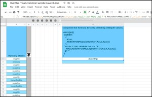 most frequently occurring word in a column in Google Sheets QUERY solution_full formula result