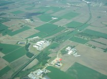 The three circular objects in the lower middle are the Waunakee manure digester.
