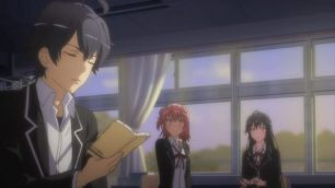 Yukinoshita Yukino (雪ノ下 雪乃) & Yuigahama Yui (由比ヶ浜 結衣) are staring at Hikigaya Hachiman (比企谷 八幡). (Yahari Ore no Seishun Love Comedy wa Machigatteiru. Yahari Ore no Seishun Love Come wa Machigatteiru. Yahari Ore no Seishun Rabukome wa Machigatte Iru. Oregairu My Youth Romantic Comedy Is Wrong, as I Expected. My Teen Romantic Comedy SNAFU Yahari Ore no Seishun Love Comedy wa Machigatteiru. Zoku Yahari Ore no Seishun Love Come wa Machigatteiru. Zoku Oregairu Zoku My Teen Romantic Comedy SNAFU TOO! やはり俺の青春ラブコメはまちがっている。 やはり俺の青春ラブコメはまちがっている。続 俺ガイル 果然我的青春戀愛喜劇搞錯了。 果然我的青春戀愛喜劇搞錯了。續 ep 1)