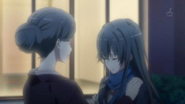 Mrs.Yukinoshita is convincing her daughter, Yukinoshita Yukino (雪ノ下 雪乃). (Yahari Ore no Seishun Love Comedy wa Machigatteiru. Yahari Ore no Seishun Love Come wa Machigatteiru. Yahari Ore no Seishun Rabukome wa Machigatte Iru. Oregairu My Youth Romantic Comedy Is Wrong, as I Expected. My Teen Romantic Comedy SNAFU Yahari Ore no Seishun Love Comedy wa Machigatteiru. Zoku Yahari Ore no Seishun Love Come wa Machigatteiru. Zoku Oregairu Zoku My Teen Romantic Comedy SNAFU TOO! やはり俺の青春ラブコメはまちがっている。 やはり俺の青春ラブコメはまちがっている。続 俺ガイル 果然我的青春戀愛喜劇搞錯了。 果然我的青春戀愛喜劇搞錯了。續 ep12)