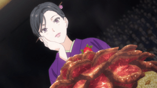 Kuraki Shigeno praises the beauty of A5 Japanese beef roti don. (Shokugeki no Soma ep7)