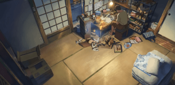 The whole space of Akizuki Takao (秋月 孝雄)'s bedroom & workshop. (The Garden of Words)