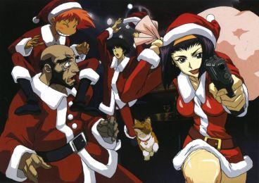 Santa Spike Spiegel (スパイク・スピーゲル), Jet Black (ジェット・ブラック), Faye Valentine (フェイ・ヴァレンタイン), Edward Wong Hau Pepelu Tivrusky IV (エドワード・ウォン・ハウ・ペペル・チブルスキー4世) & Ein (アイン) are ready for Santa work. (Cowboy Bebop)