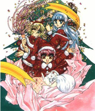 Santa girls, Shidou Hikaru (獅堂 光), Ryuuzaki Umi (龍咲 海) & Hououji Fuu (鳳凰寺 風) in the present. (Magic Knight Rayearth)
