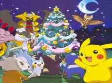 Pikachu (ピカチュウ) & his friends are enjoying Christmas night. (Pokemon)