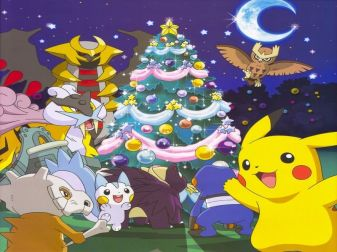 Pikachu (ピカチュウ) & his friends are enjoying Christmas night. (Pokemon)